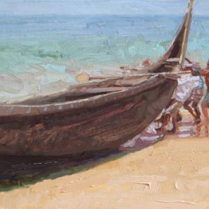 kovalam fisherman docking boat study 12x9